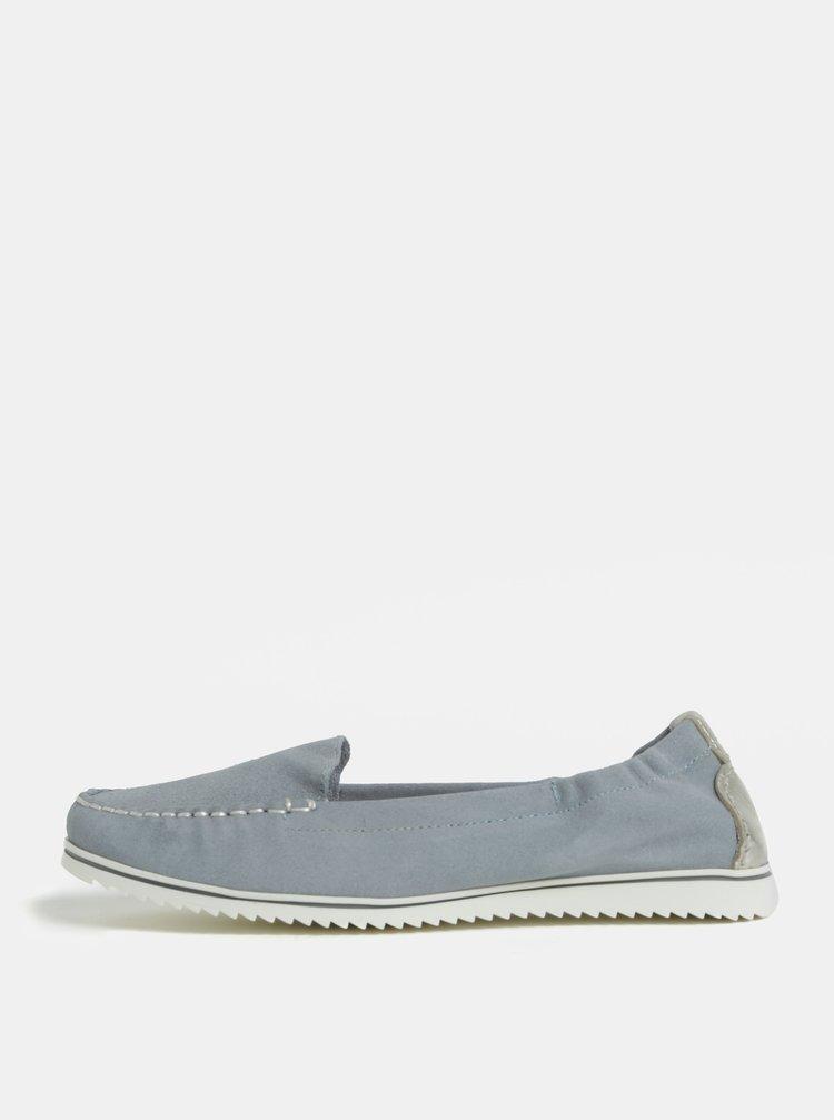 Modré dámské semišové mokasíny s patou ve stříbrné barvě OJJU