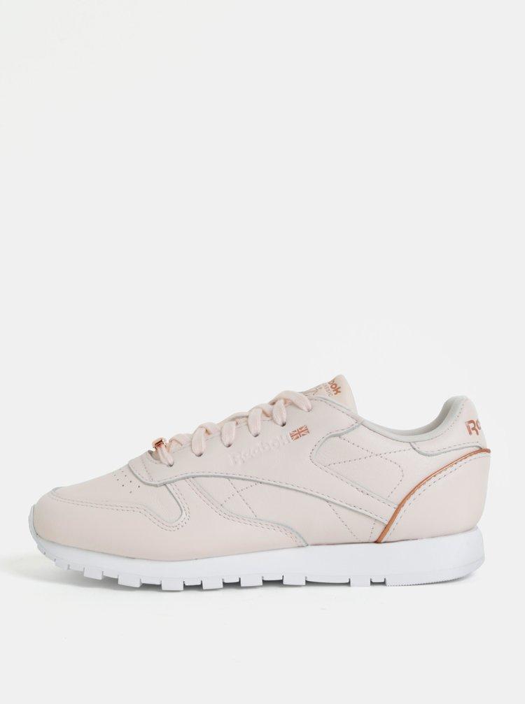 Světle růžové dámské kožené tenisky Reebok Classic