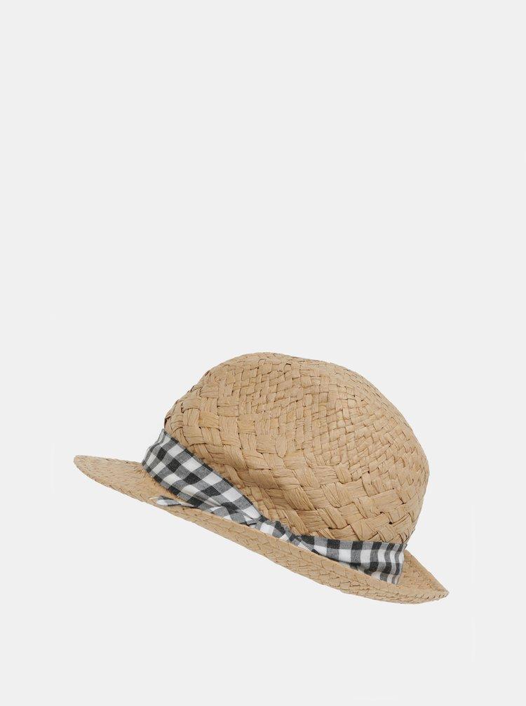 Světle hnědý klobouk s kostkovanou stuhou Dorothy Perkins