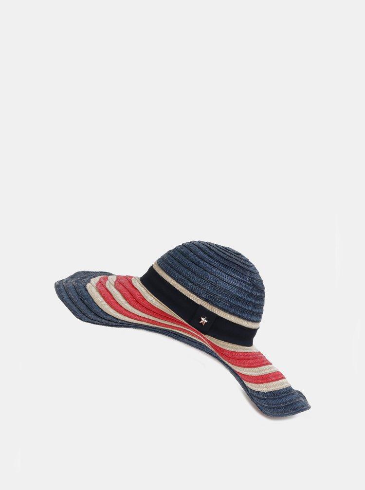 Červeno-modrý dámský pruhovaný klobouk Tommy Hilfiger