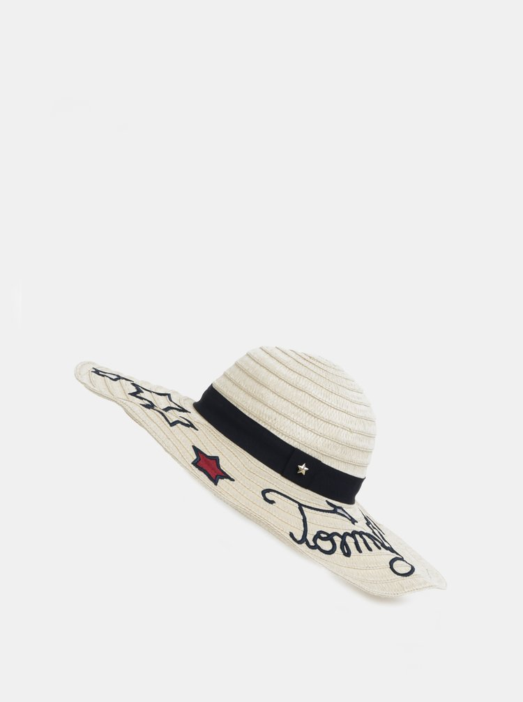 Krémový dámský klobouk s výšivkami Tommy Hilfiger
