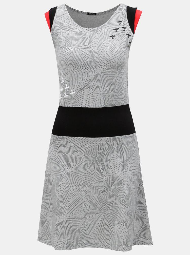 Šedé žíhané šaty s potiskem a gumou v pase Mayda Vrstevnice