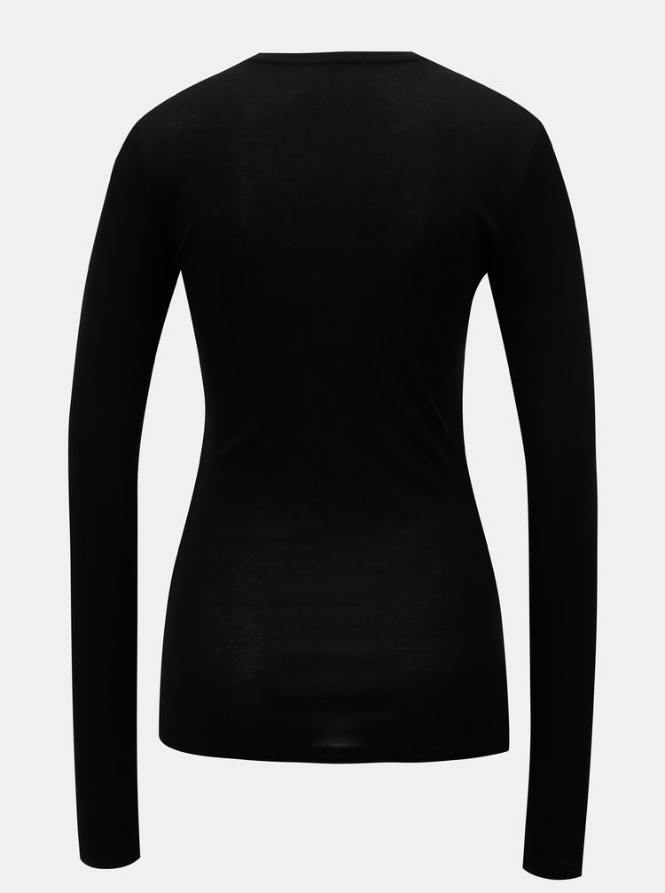 552d8521fb63 ... Čierne tričko s dlhým rukávom Moss Copenhagen