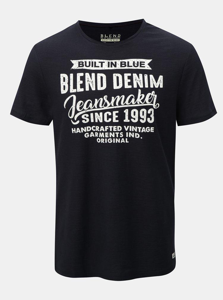 Tmavě modré regular žíhané tričko Blend