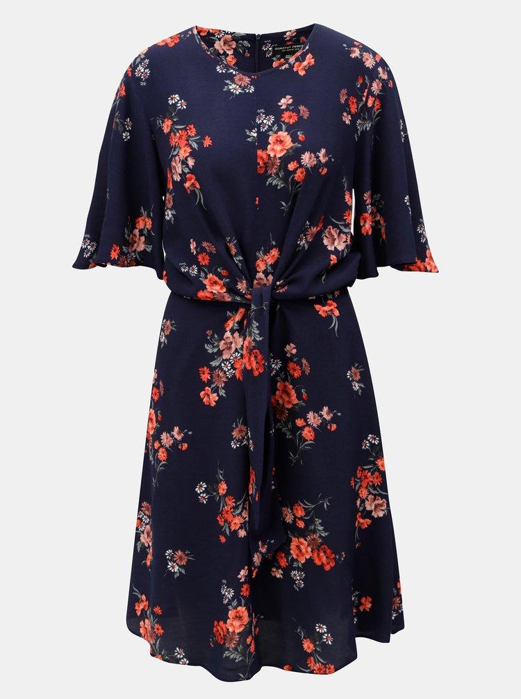 Tmavě modré květované šaty se zavazováním Dorothy Perkins