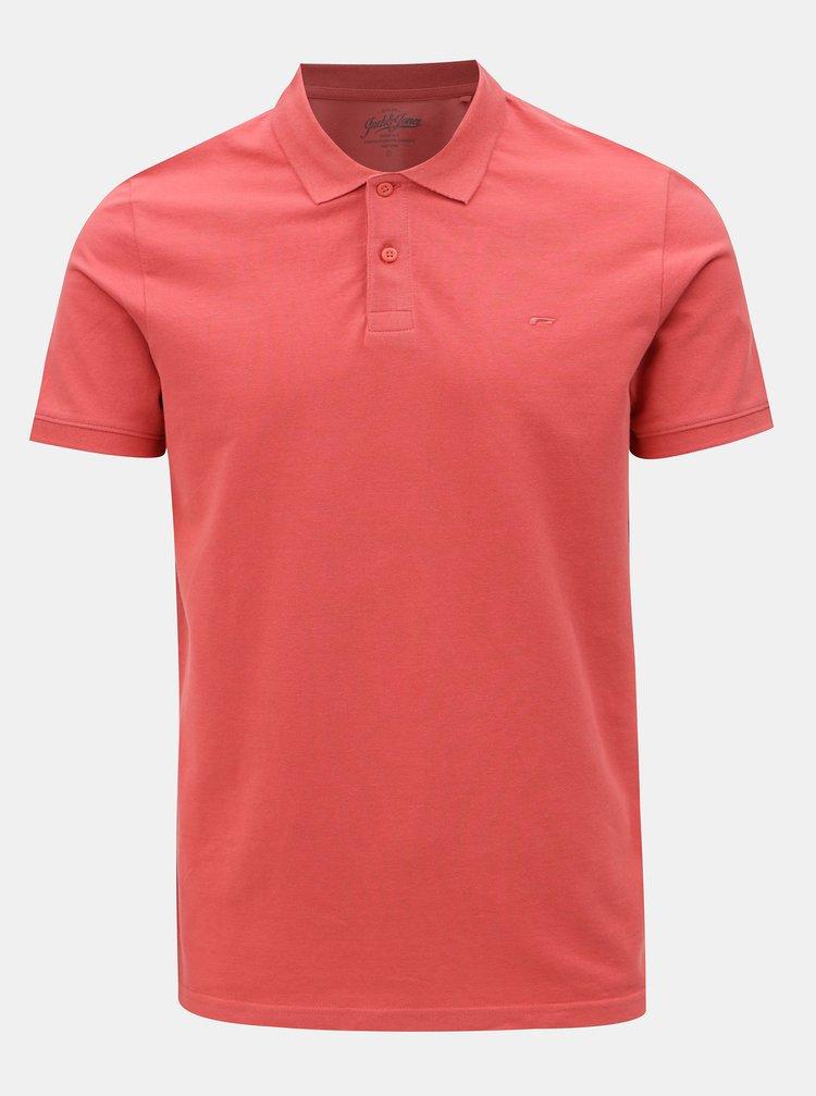Cihlové polo tričko Jack & Jones