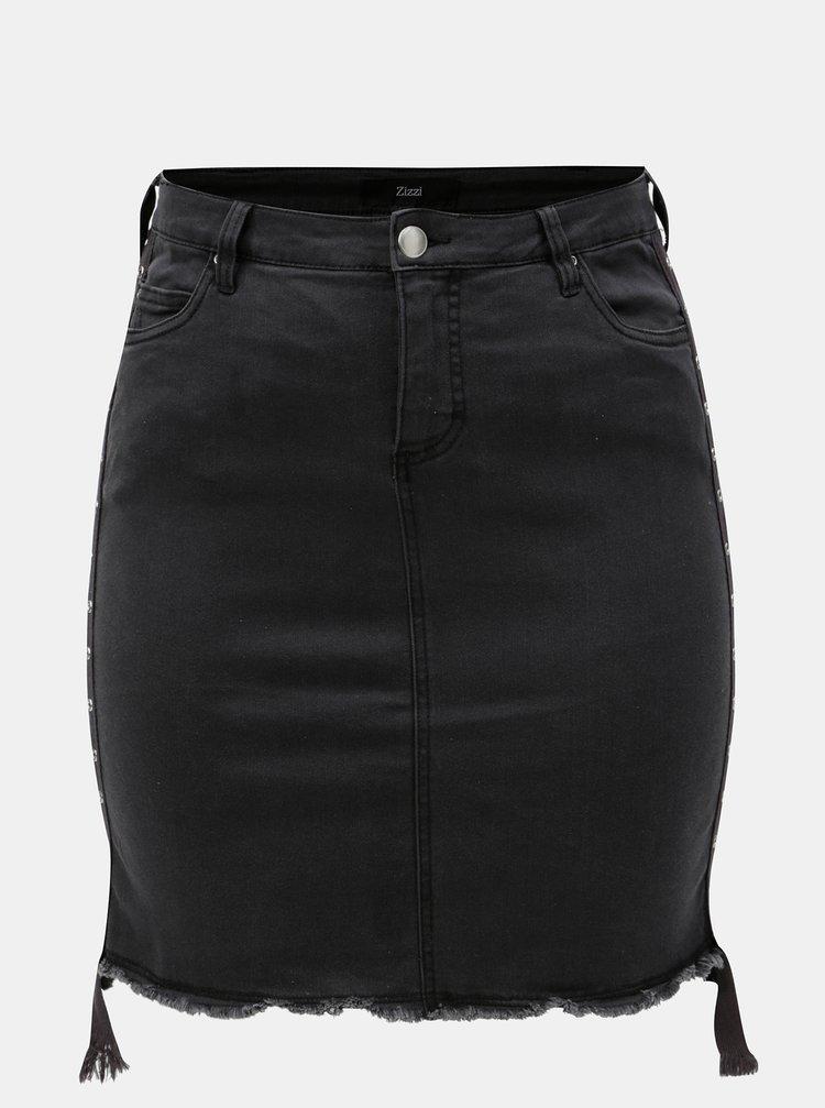 Tmavosivá puzdrová rifľová sukňa Zizzi