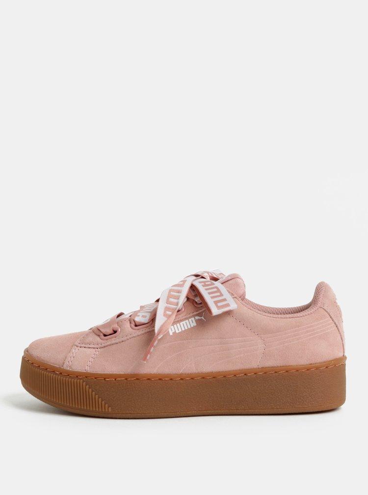 Pantofi sport de dama roz deschis din piele intoarsa cu platforma Puma Vikky