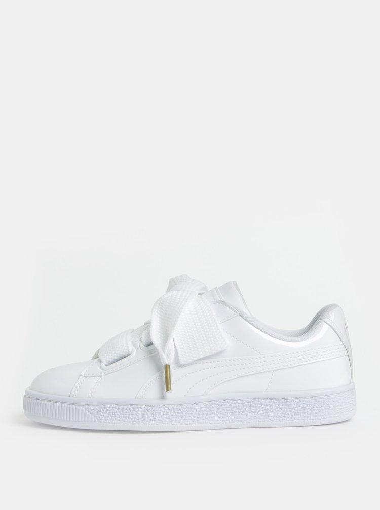 ec17631b28cb0 ... Biele dámske lesklé tenisky so širokými šnúrkami Puma Basket Heart