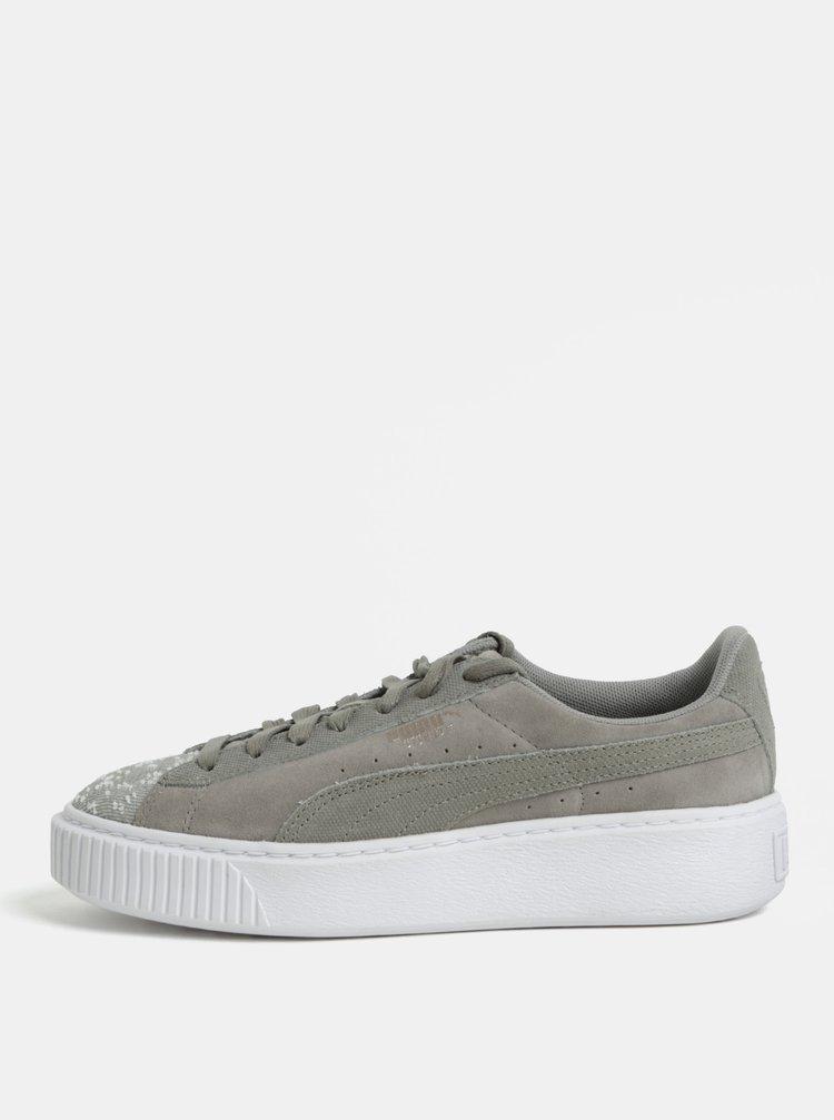 Pantofi sport de dama gri din piele intoarsa cu platforma Puma Pebble