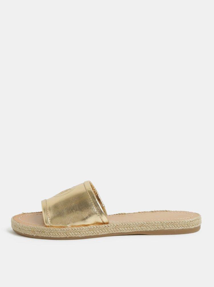 Dámské kožené pantofle ve zlaté barvě Tommy Hilfiger