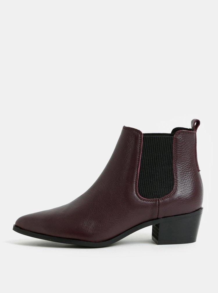 Vínové kožené chelsea boty Pieces Delta