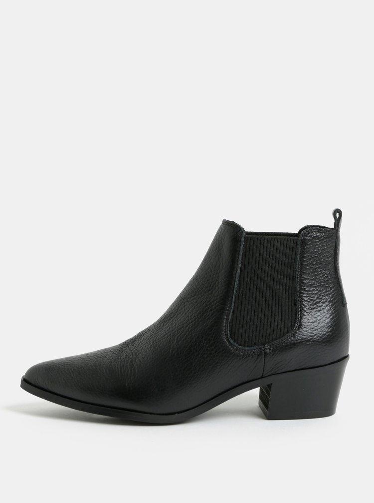 Černé kožené chelsea boty Pieces Delta