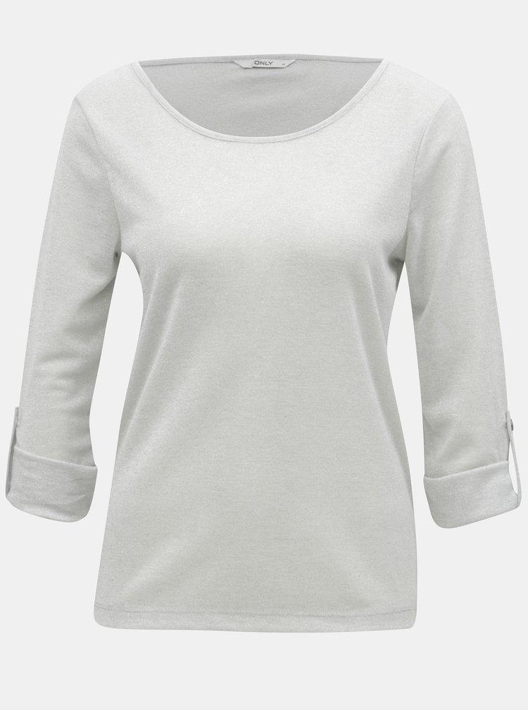 Šedé třpytivé tričko ONLY Silvery