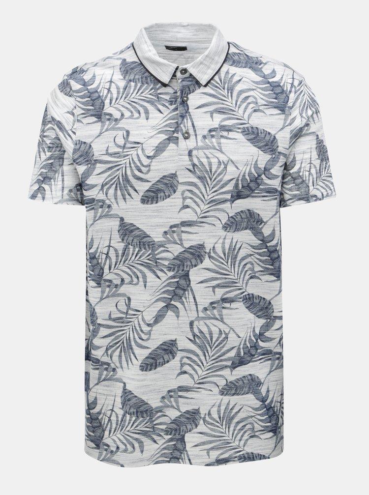 Sivé melírované polo tričko s tropickým vzorom Burton Menswear London