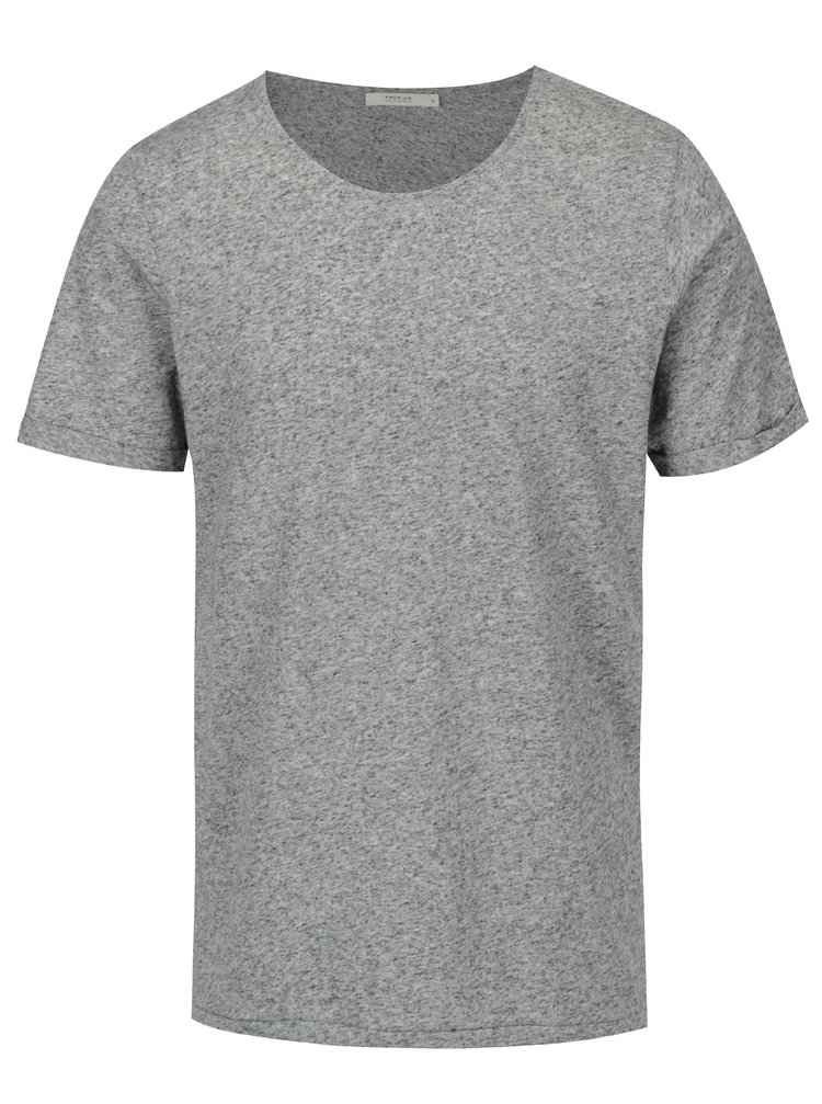 Tricou gri melanj cu amestec de in Jack & Jones Randy