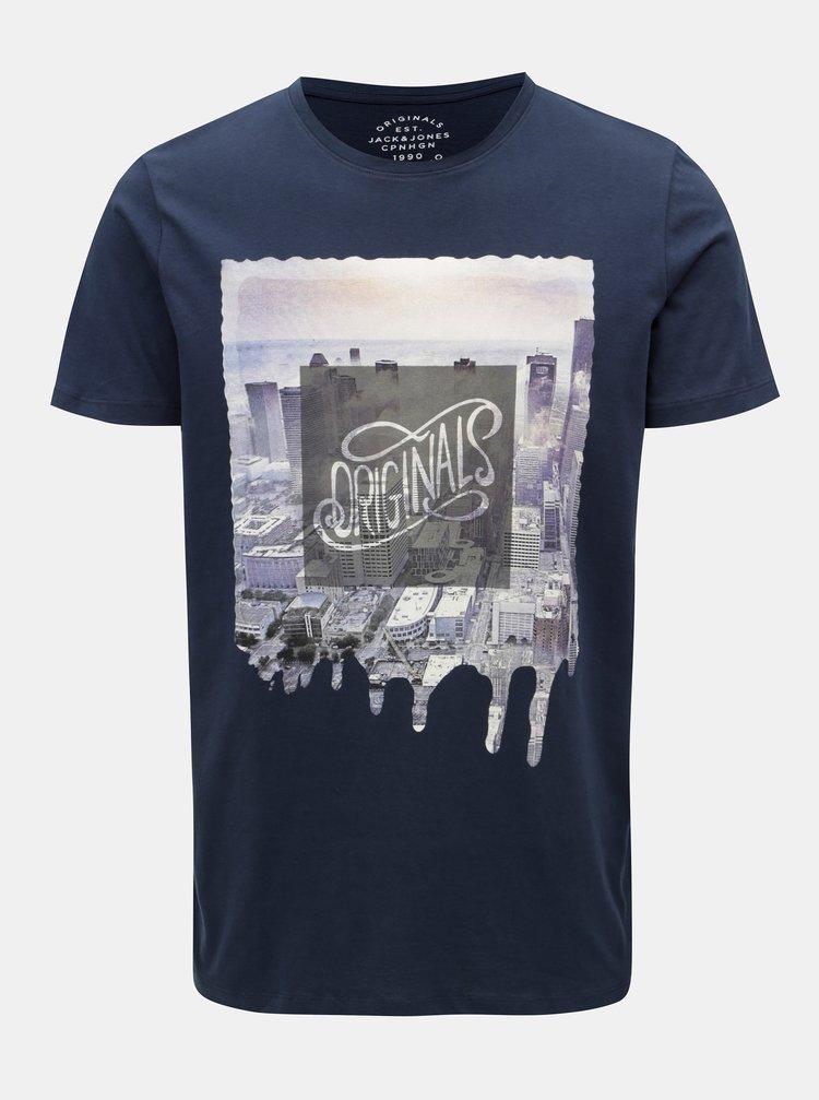 Tmavomodré tričko s potlačou a krátkym rukávom Jack & Jones Autumn City