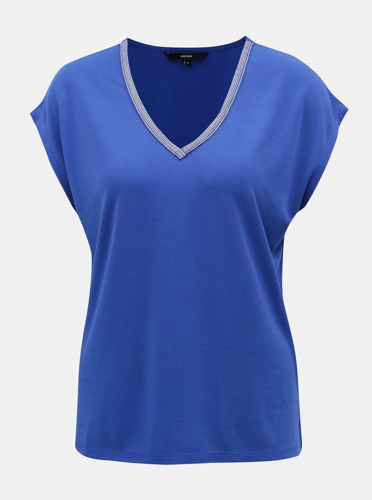 Bluza lejera albastra cu aplicatie decorativa pe decolteu VERO MODA
