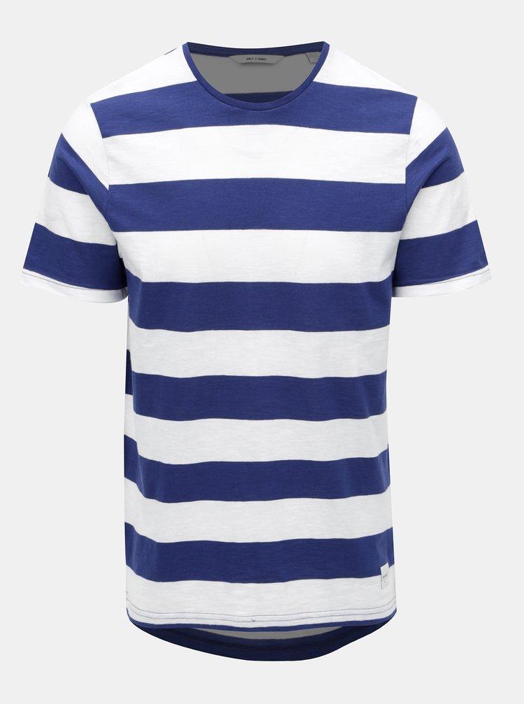 Bílo-modré pruhované basic tričko ONLY & SONS Dontell