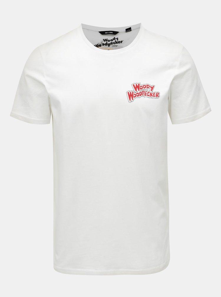 Bílé tričko s potiskem na zádech ONLY & SONS Woodpecker