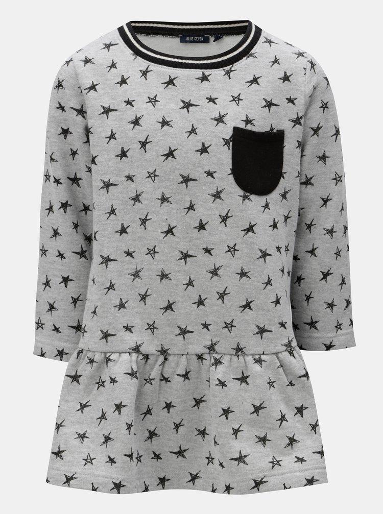 Šedé holčičí mikinové šaty s potiskem hvězd Blue Seven