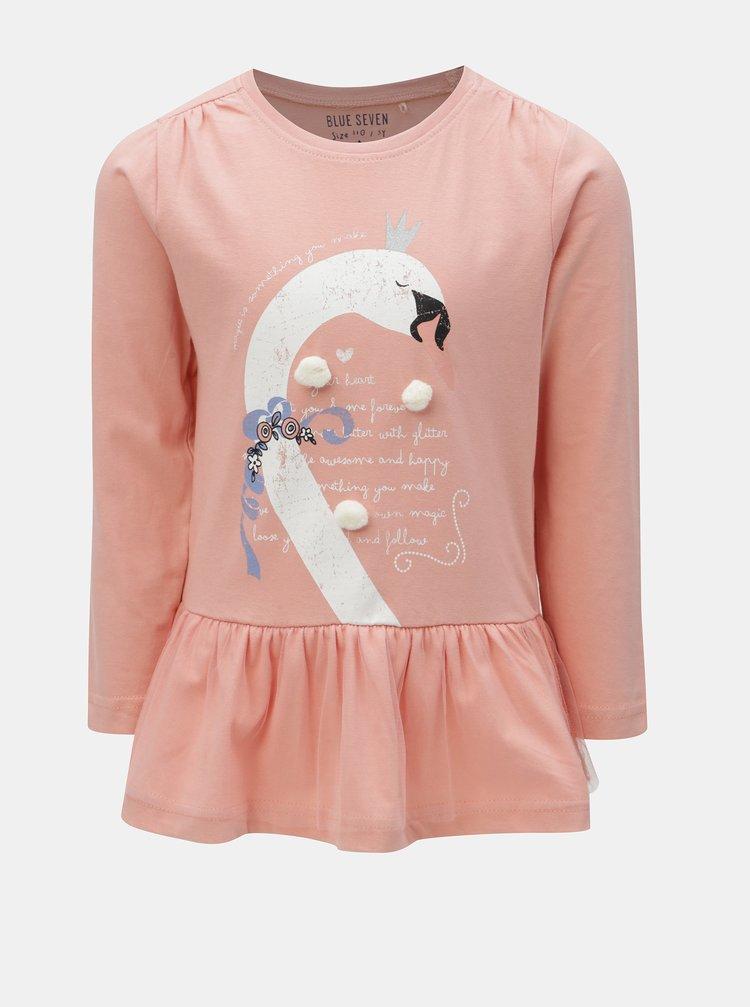 Světle růžové holčičí tričko s potiskem a bambulemi Blue Seven