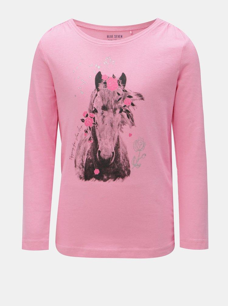 Růžové holčičí tričko s potiskem koně Blue Seven