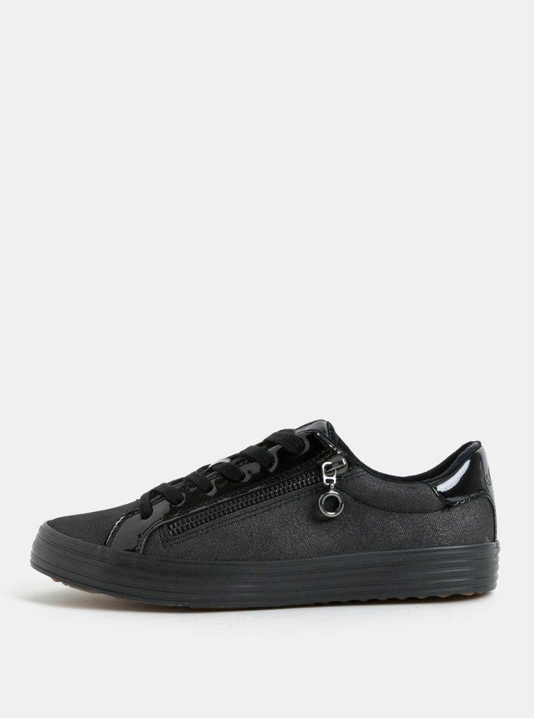 Černé tenisky s ozdobným zipem s.Oliver