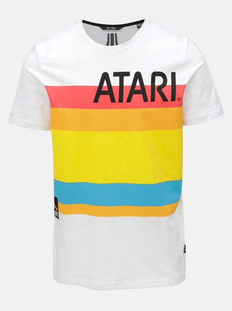 Bílé tričko s potiskem ONLY & SONS Atari