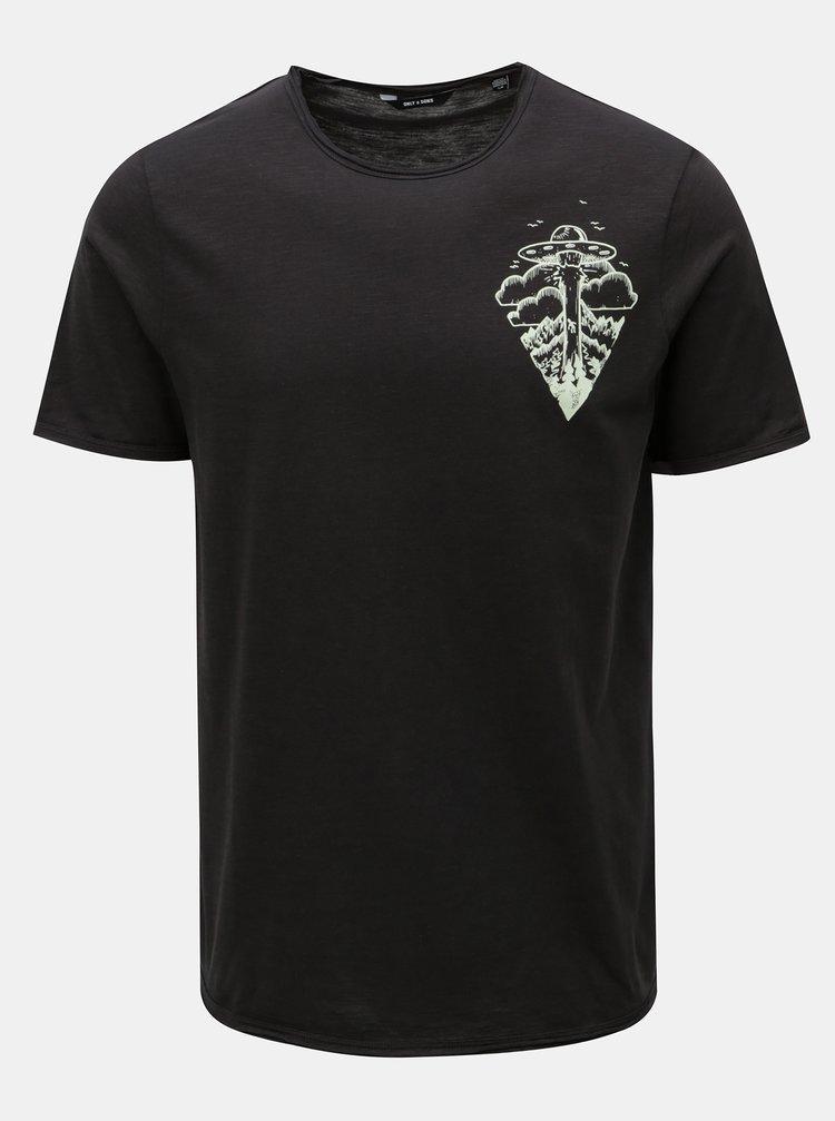 Tricou gri inchis cu print ONLY & SONS Gerreth