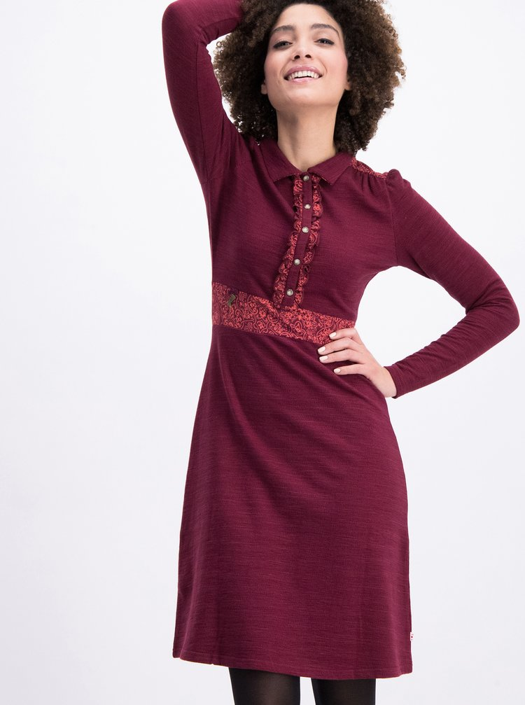 Vínové mikinové šaty s dlouhým rukávem Blutsgeschwister