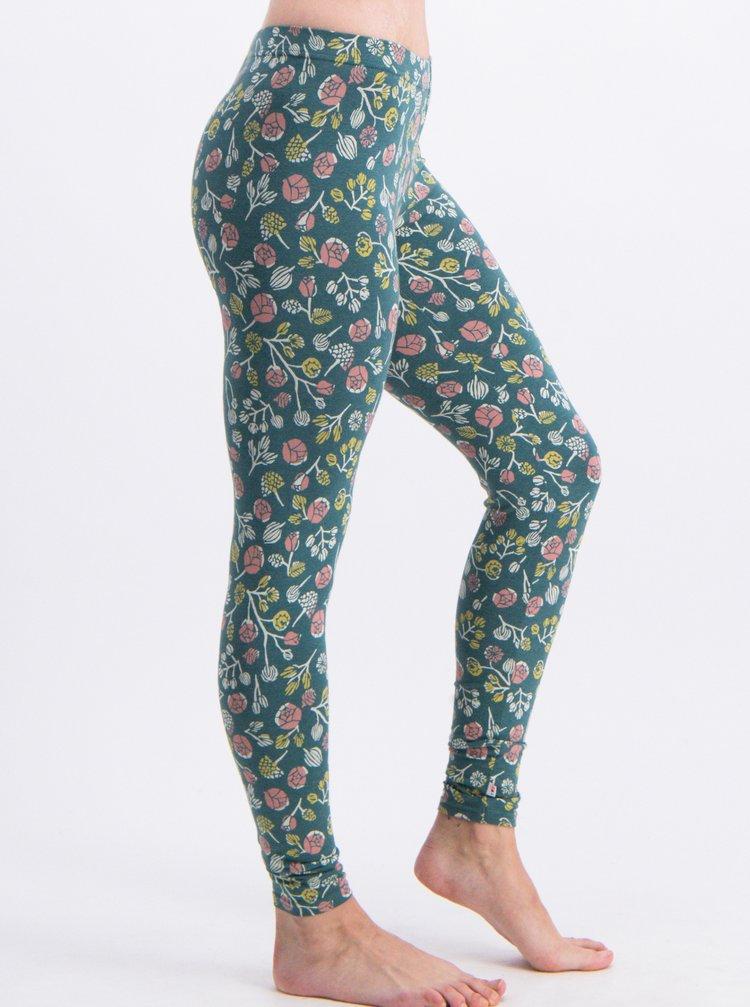 Leggings verzi cu model floral Blutsgeschwister