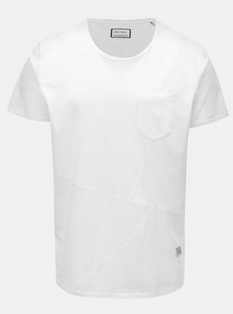 Bílé prošívané basic tričko s náprsní kapsou Shine Original