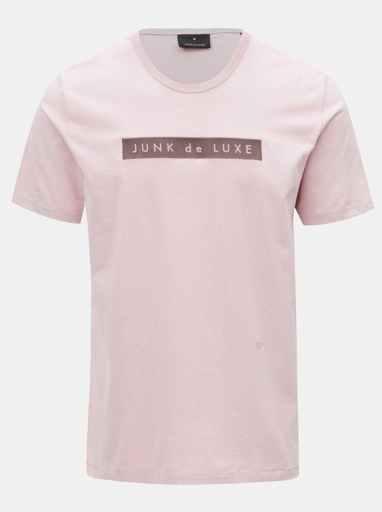 Růžové tričko s výšivkou JUNK de LUXE