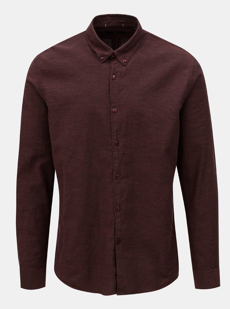 Vínová melírovaná košeľa JUNK de LUXE