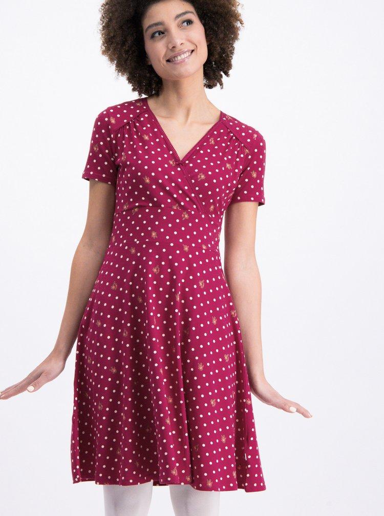 Tmavě růžové puntíkované šaty Blutsgeschwister