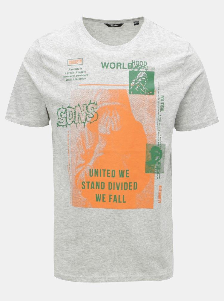 Tricou gri deschis melanj cu print ONLY & SONS