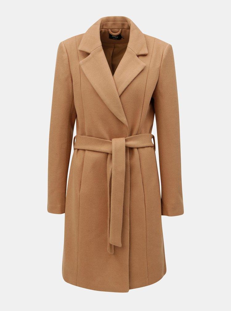 Světle hnědý kabát na zavazování ONLY