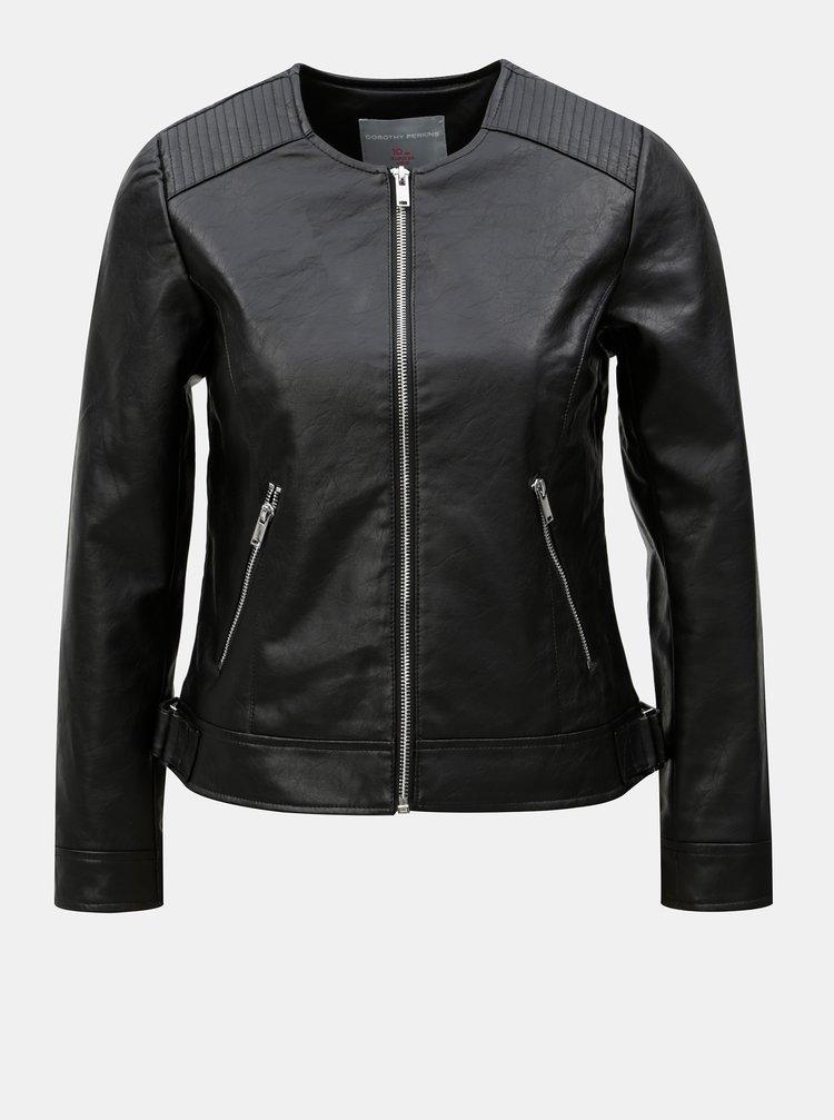 Černá koženková bunda Dorothy Perkins Petite