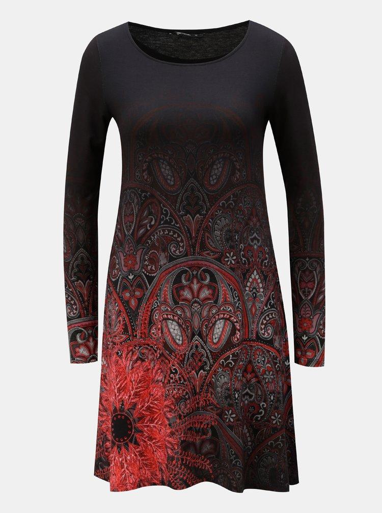 Černé vzorované šaty s dlouhým rukávem Desigual Jaipur