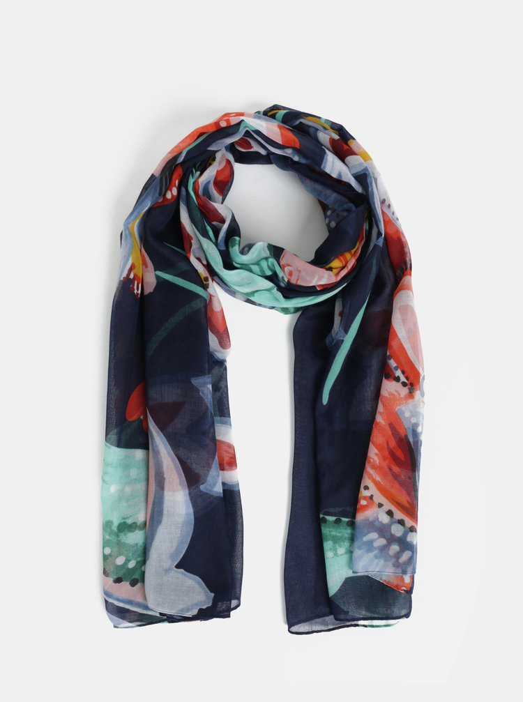 Zeleno-modrý květovaný šátek Desigual Kora