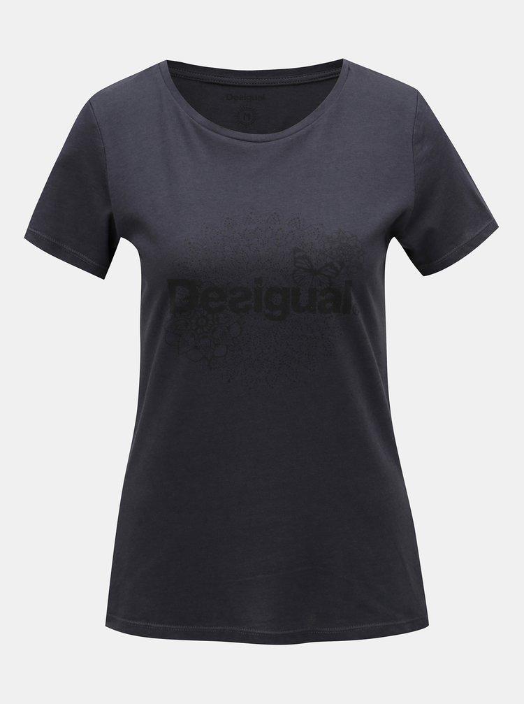 Černé tričko s potiskem Desigual