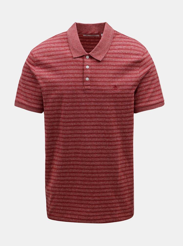 Červené žíhané polo tričko s pruhy Original Penguin Allover Jacquard