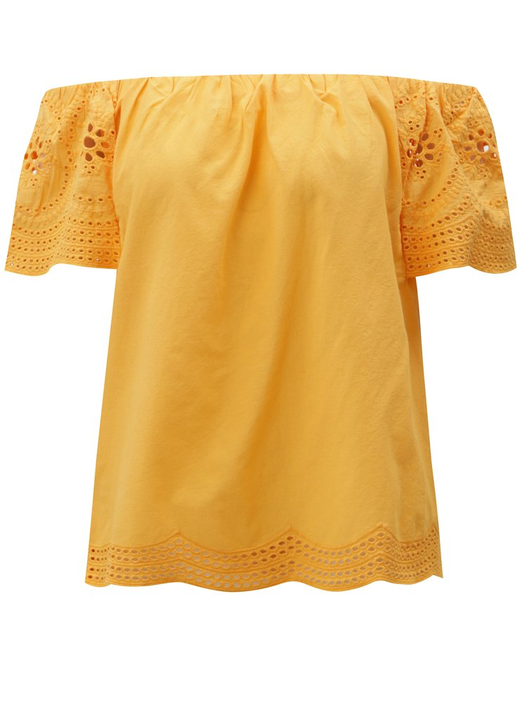 Oranžová halenka s odhalenými rameny a madeirou Dorothy Perkins