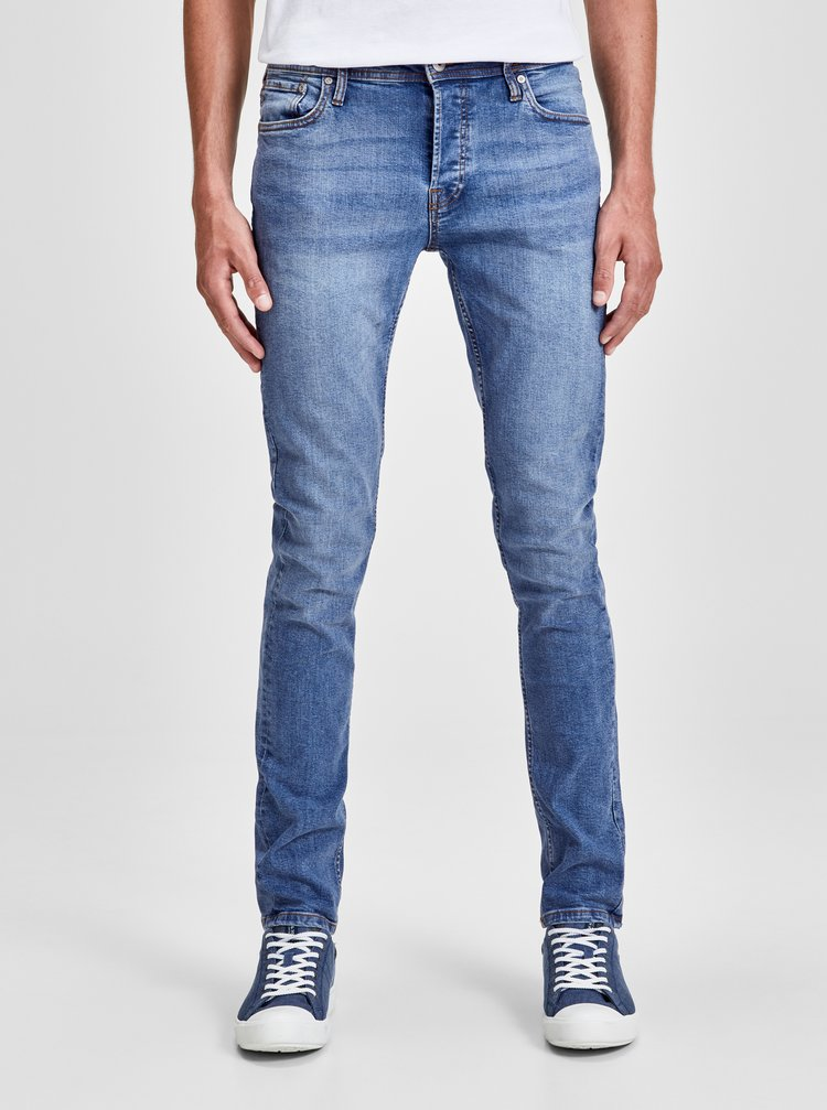 Blugi albastru deschis slim fit din denim Jack & Jones Original