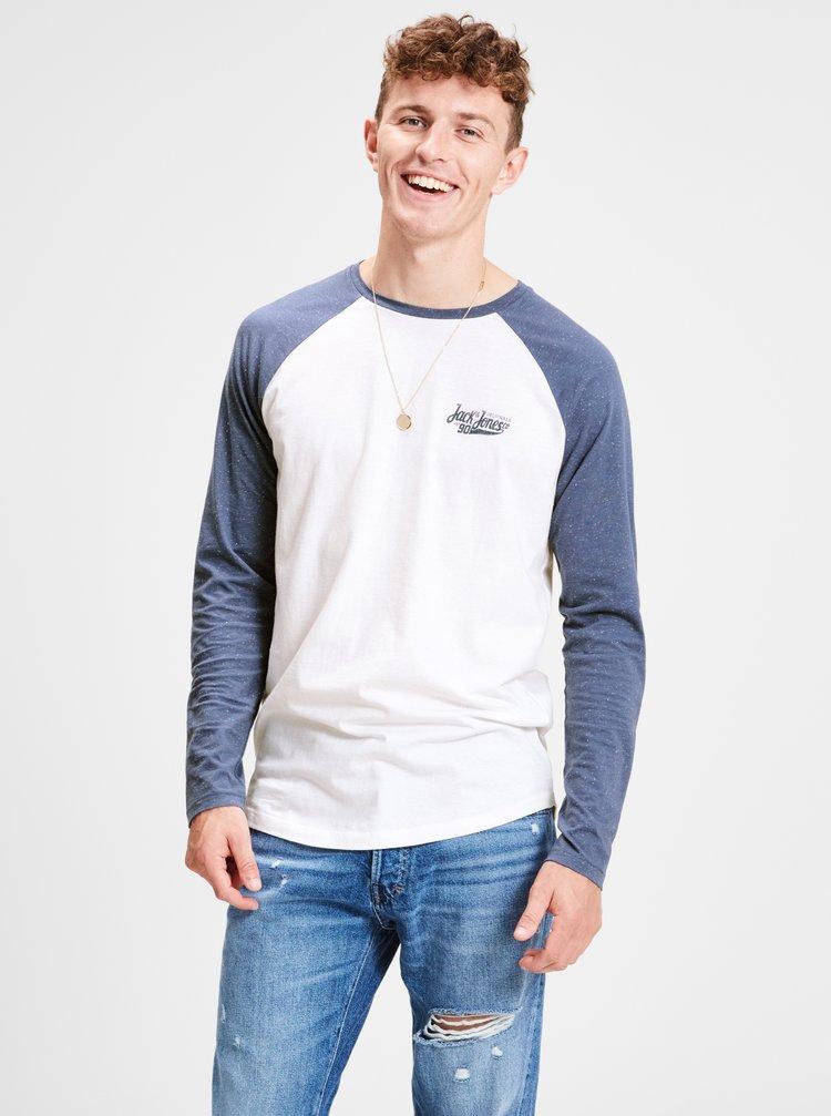 Modro-biele pánske jemne melírované tričko s potlačou Jack & Jones