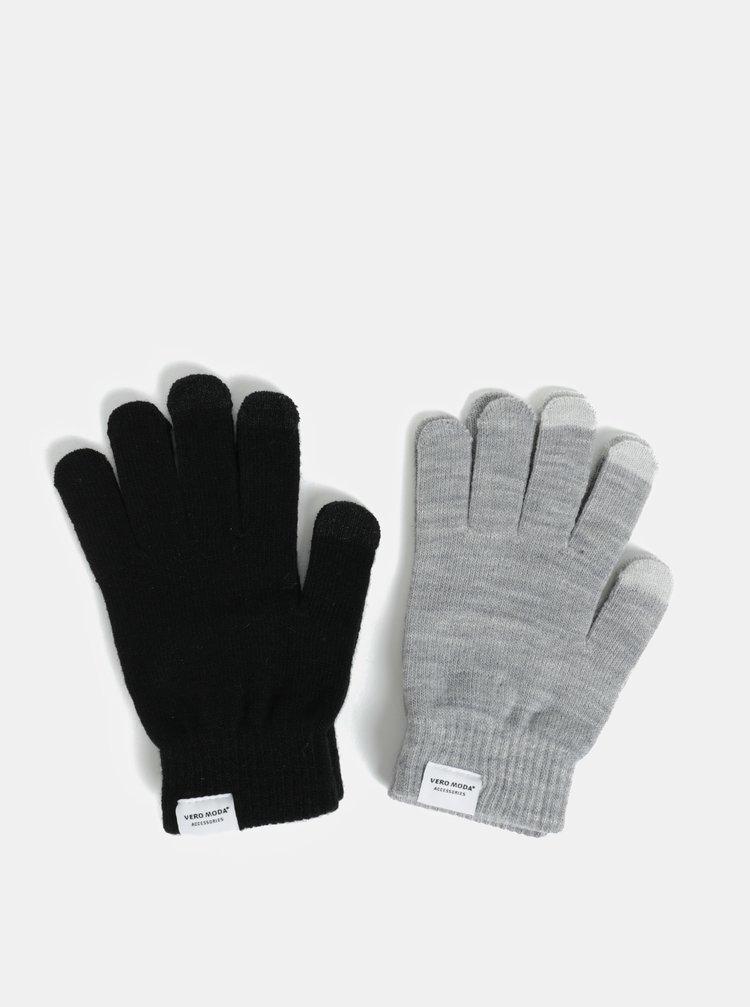 Súprava dvoch párov rukavíc v sivej a čiernej farbe VERO MODA Vilde