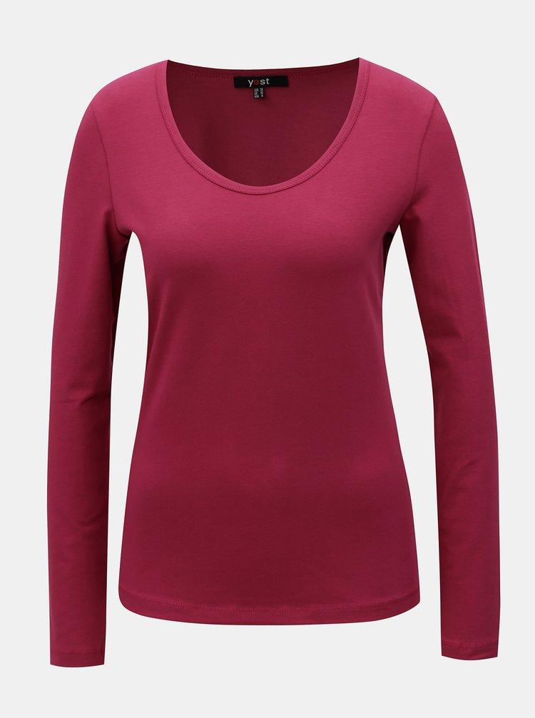 Tricou roz inchis basic cu maneci lungi Yest