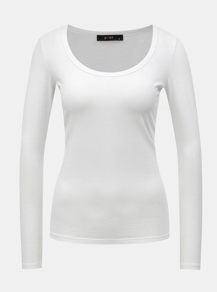 Bílé basic tričko s dlouhým rukávem Yest