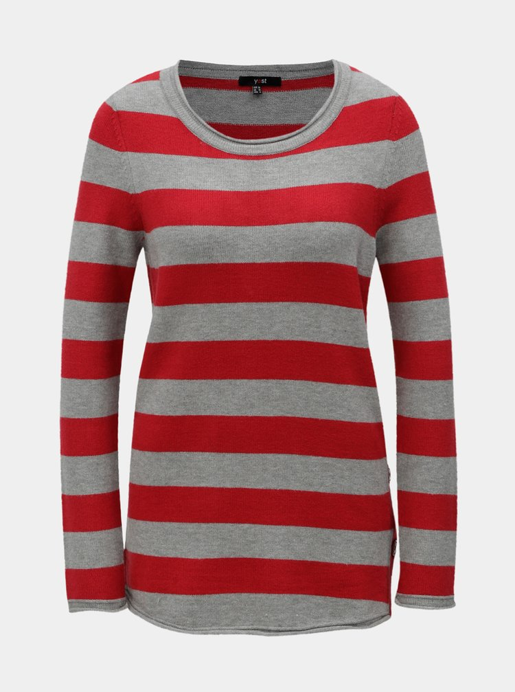 Sivo-červený pruhovaný sveter s gombíkmi na boku Yest